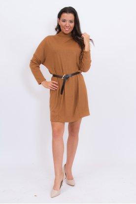 Divatos női bő fazonú hosszú ujjú félgarbós mini ruha/tunika övvel