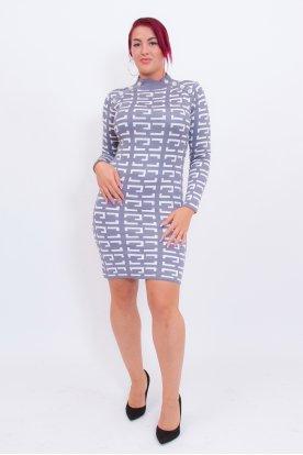 Gombos félgarbós hosszú ujjú anyagában mintás női mini ruha