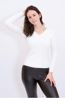 Női divatos kötött strassz kövekkel díszített V-nyak kivágású hosszú ujjú női felső