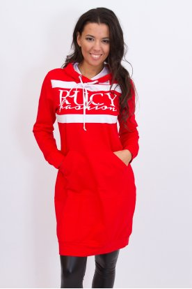 RUCY FASHION stílusos kapucnis kenguru zsebes feliratos hosszú ujjú pulóver