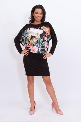 RUCY FASHION anyagában tropicál mintás szoknyás denevér fazonú divatos mini ruha /tunika