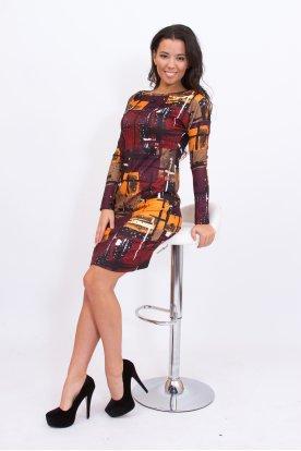 RUCY FASHION divatos absztrakt mintával díszített női hosszú ujjú mini ruha