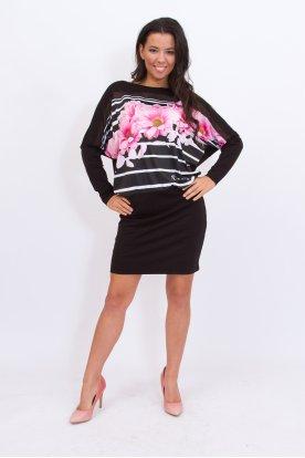 RUCY FASHION anyagában csíkos, virág mintás szoknyás denevér ujjas divatos mini ruha /tunika