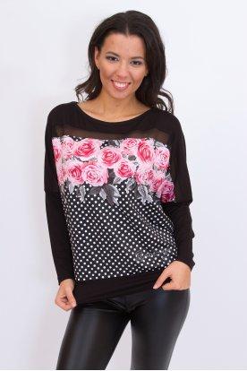 RUCY FASHION divatos anyagában pöttyös, rózsa mintás passzés aljú bő szabású hosszú denevér ujjú női felső
