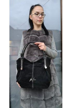 Valódi bőr női táska lakkos pánttal
