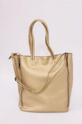 Műbőr válltáska nagy pakolórésszel és benne kisebb oldaltáskaként hordható táska