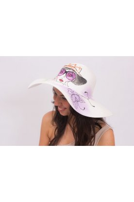 Nyomott mintás kalap női arccal