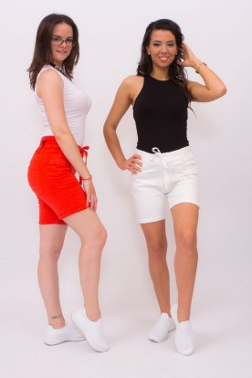 Egyszínű megköthetős farmer rövid nadrág