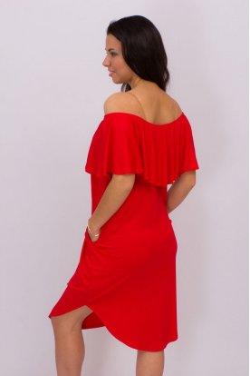 RUCY FASHION Zsebes bő fazonú kerekített aljú midi ruha pelerines vállra húzható felsőrésszel