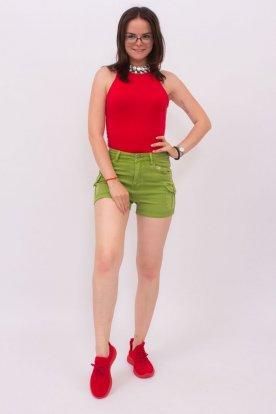 Egyszínű zsebes farmer rövid nadrág