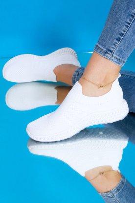 Női fehér színű divatos belebújós zoknicipő
