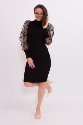 Pöttyös tüllös ujjú szexi kötött fekete mini ruha