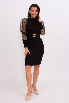 Pöttyös tüllös ujjú szexi öves kötött fekete mini ruha