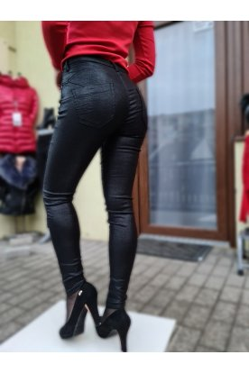 Csillogós fekete bőr hatású nadrág