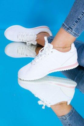 Női stílusos fehér színű sportcipő rózsaszín betéttel