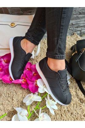 Női fekete műbőr divatos sportcipő