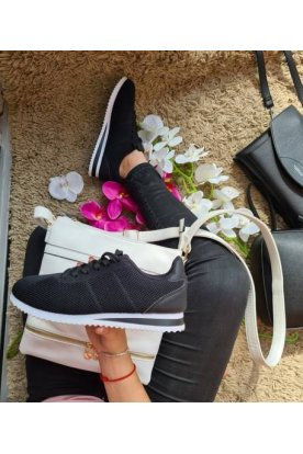 Női fekete színű divatos sportcipő