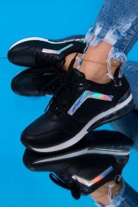 Női divatos fekete sportcipő hologramos díszítéssel és oldalán csillámmal
