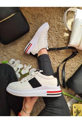 Női divatos fekete fehér sportcipő