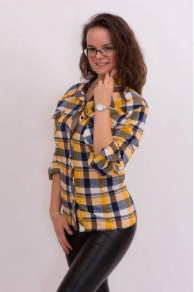 Nagy méretű fehér alapon kék-sárga kockás ing