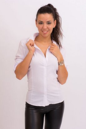 Divatos női nagy méretű fehér karcsúsított ing
